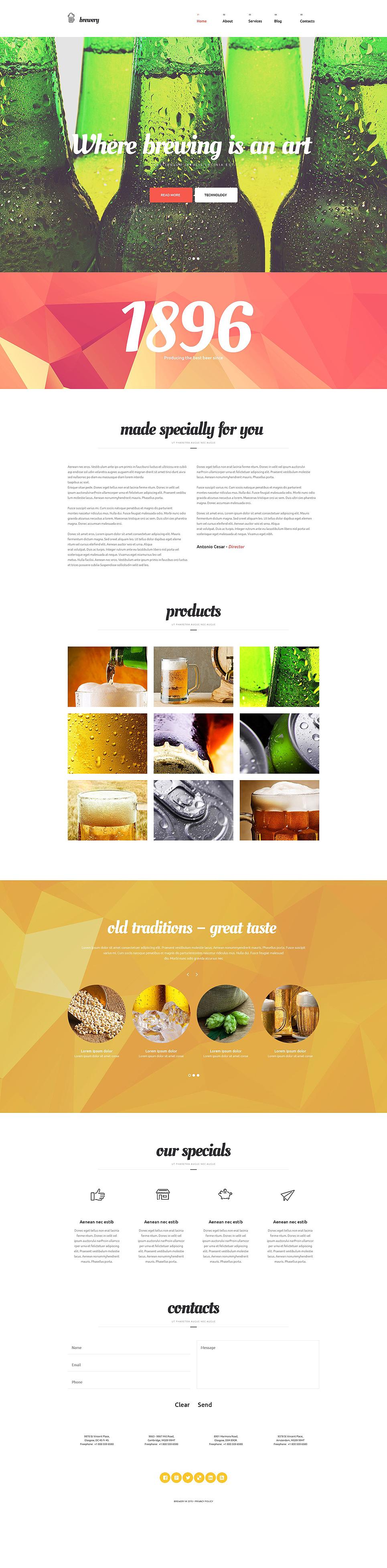 Адаптивный шаблон сайта на тему пивоварня #54935