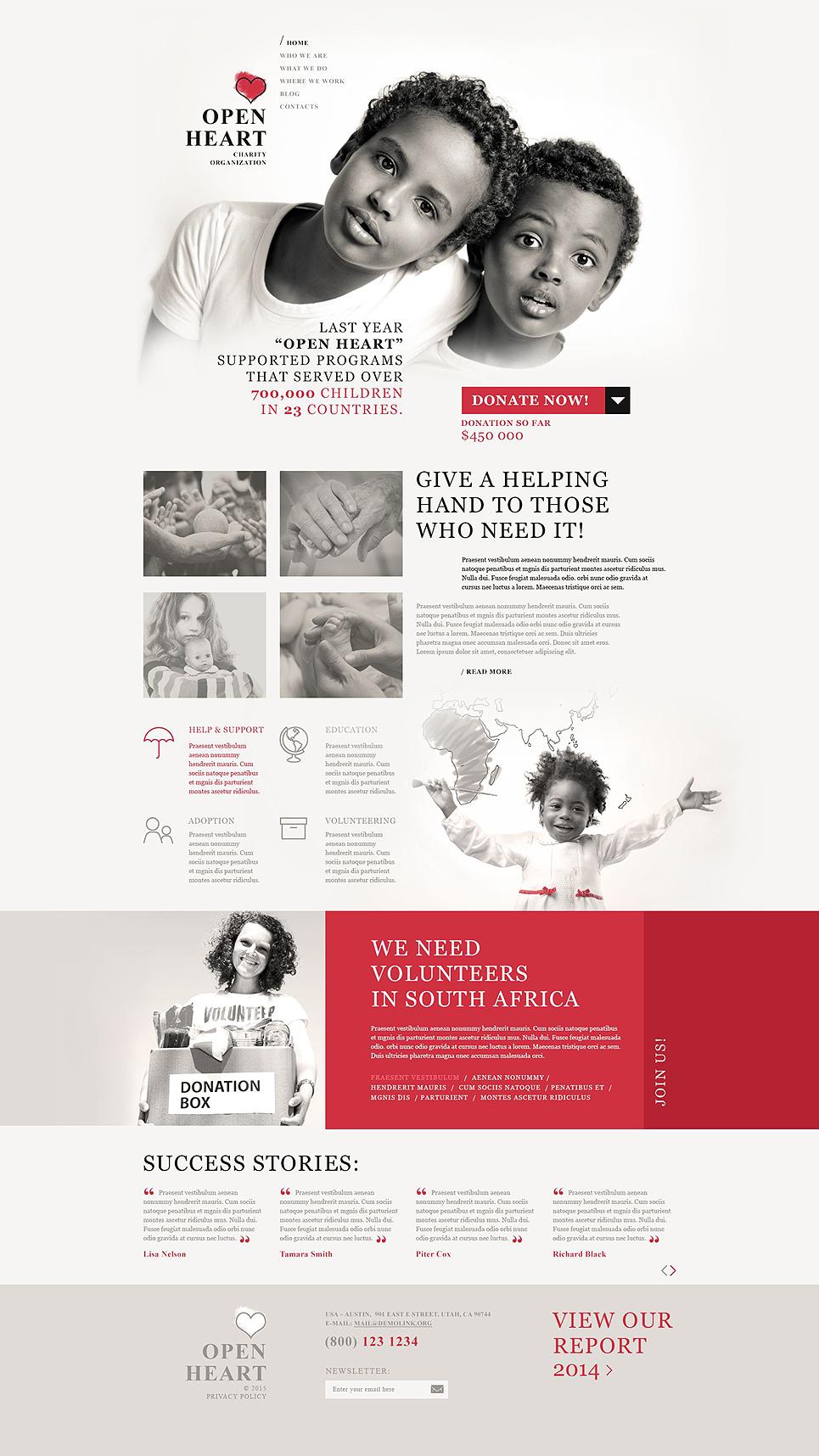 Адаптивный шаблон сайта на тему благотворительность #54940