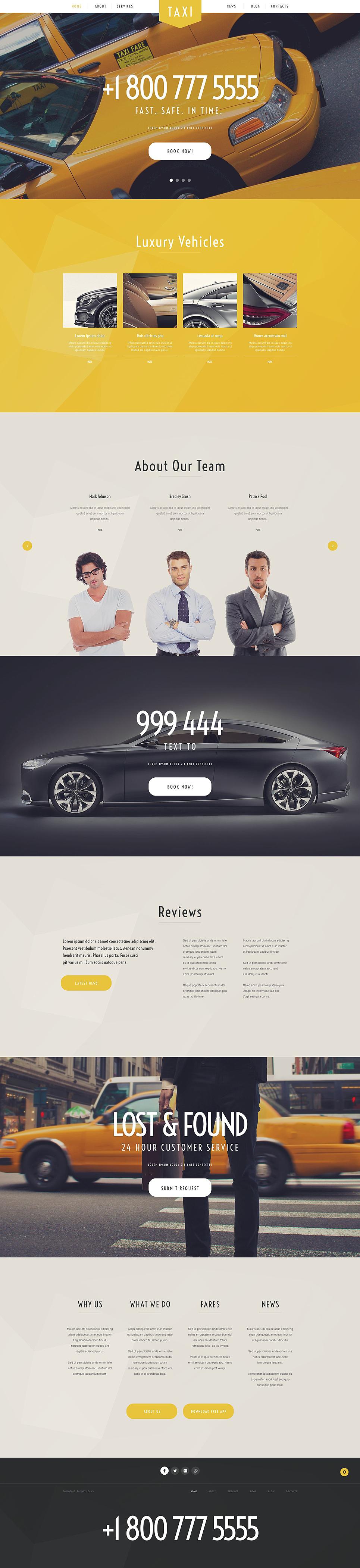 Адаптивный шаблон сайта на тему такси #54992