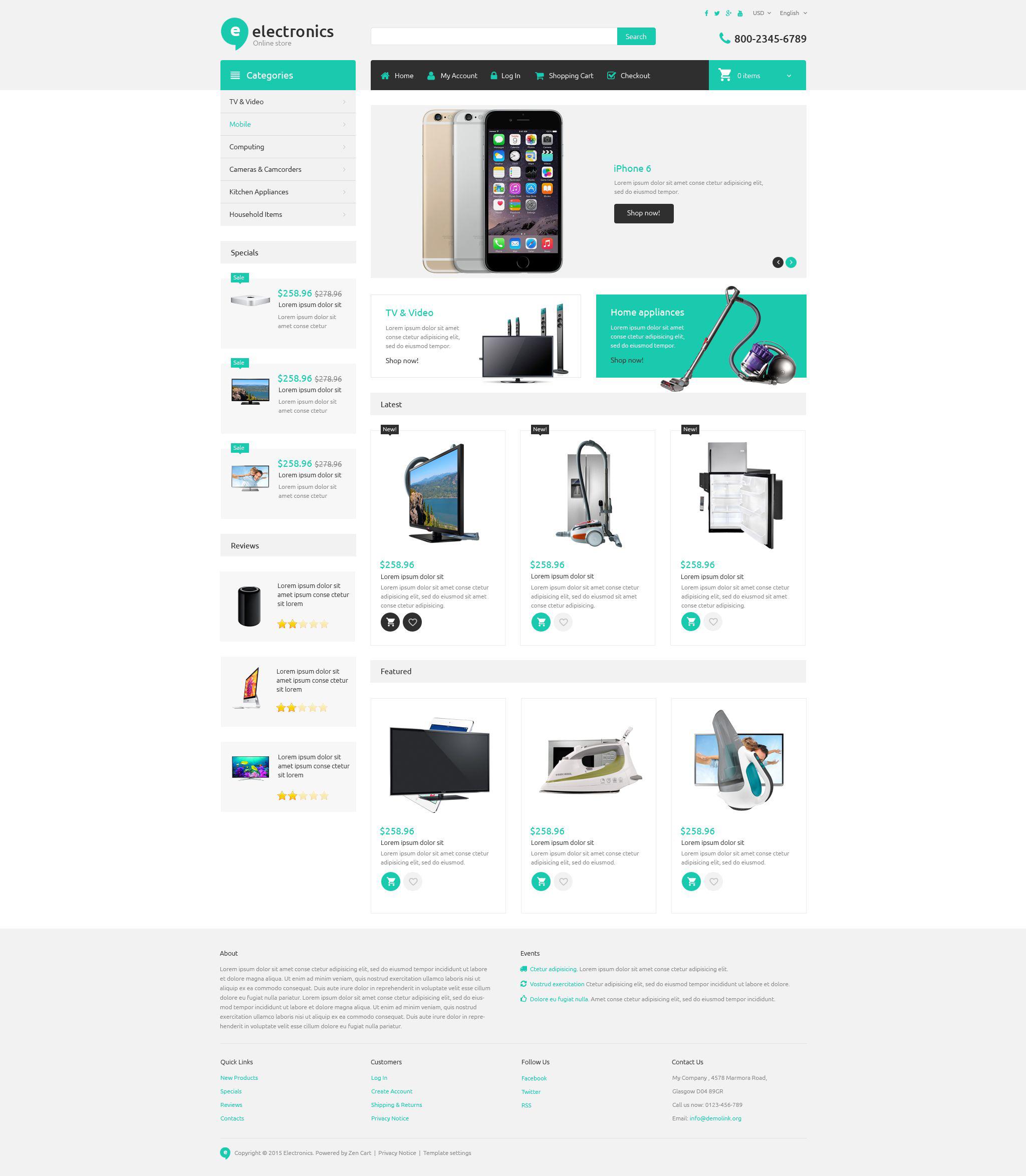 Адаптивный ZenCart шаблон №54959 на тему магазин электроники