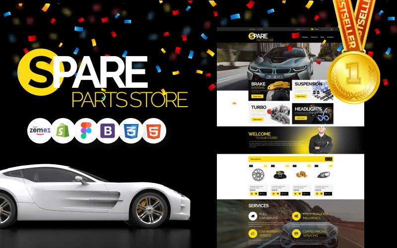"""Auto Parts"" Bootstrap Shopify Thema №54971"