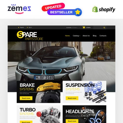 Spare Parts Store - Shopify Template based on Bootstrap