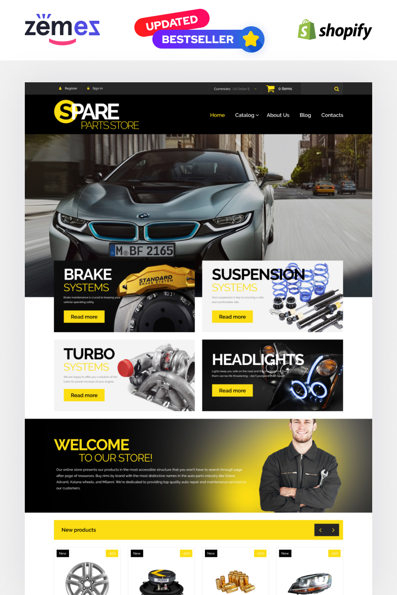 Bootstrap Otomobil Parçaları Shopify #54971 - Ekran resmi