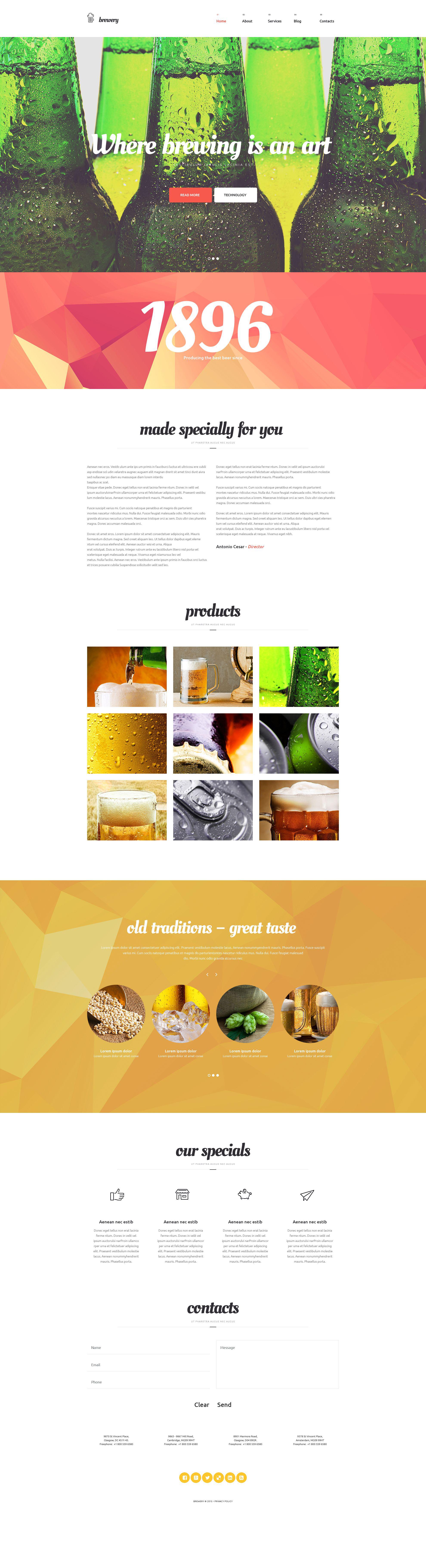 """Brewery"" - адаптивний WordPress шаблон №54935"