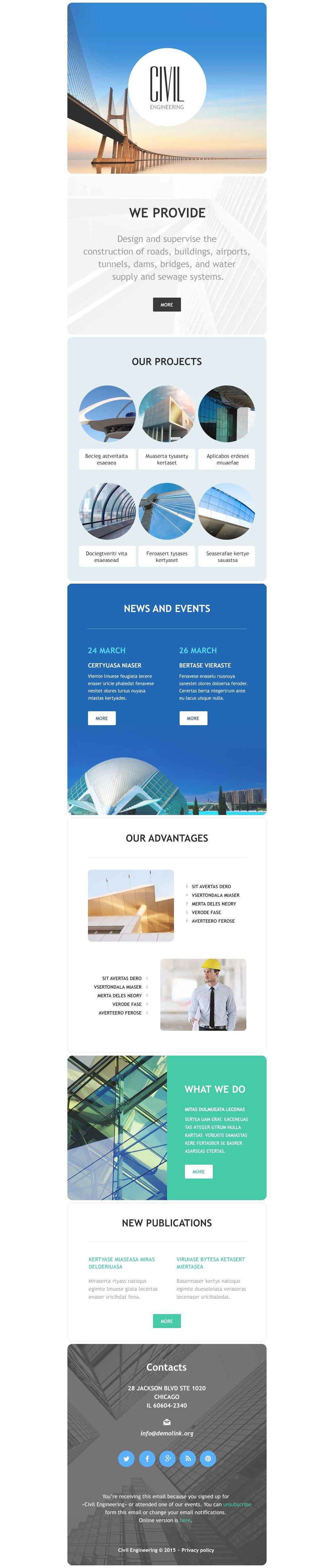 Civil Engineering Responsive Newsletter Template - screenshot