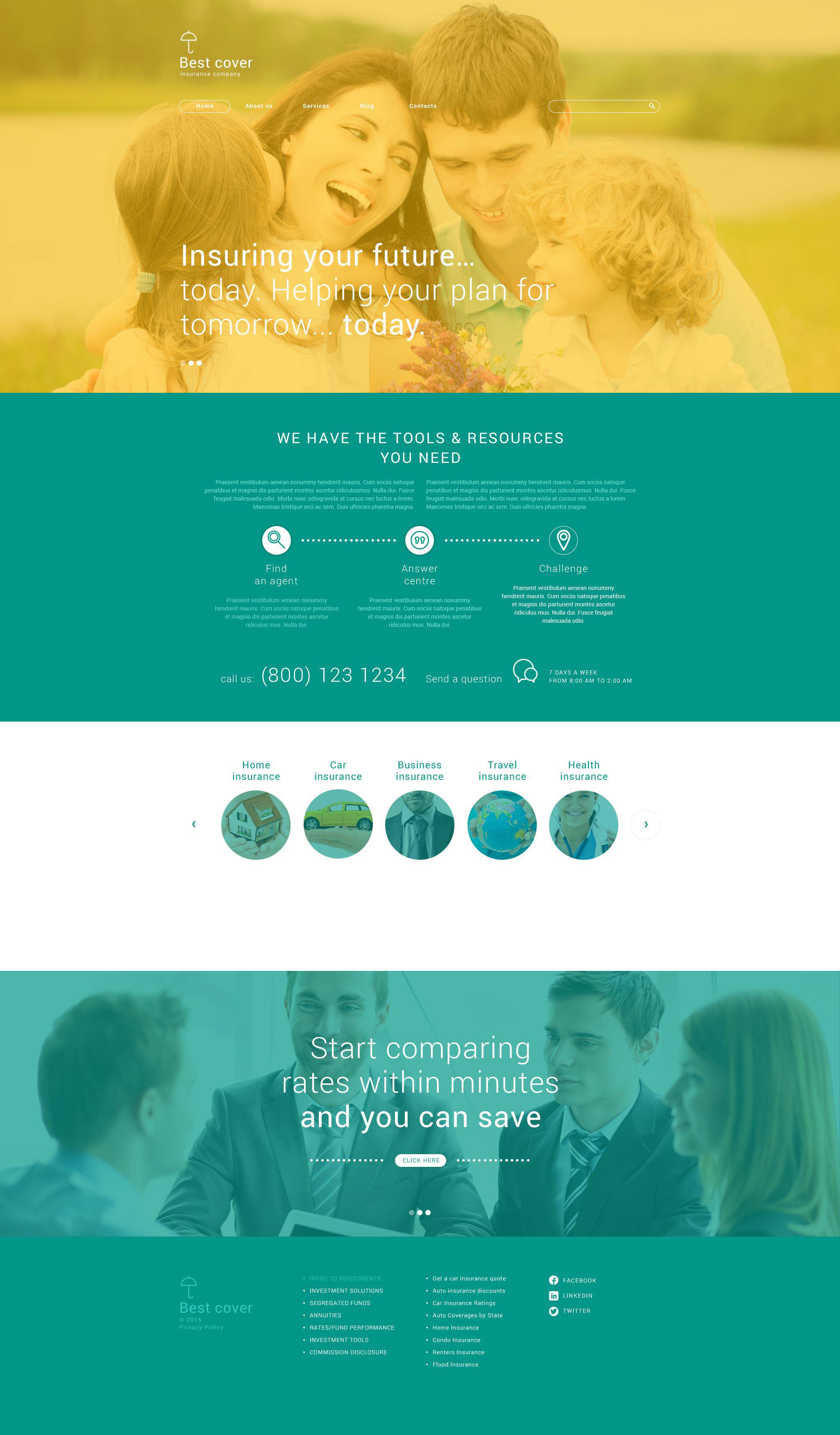 """Compagnie d'assurance"" thème WordPress adaptatif #54994"