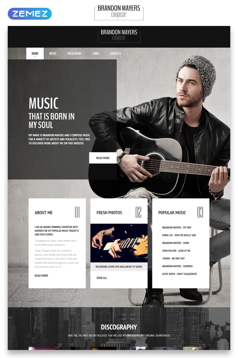 Music composer web template composers portfolio website template maxwellsz