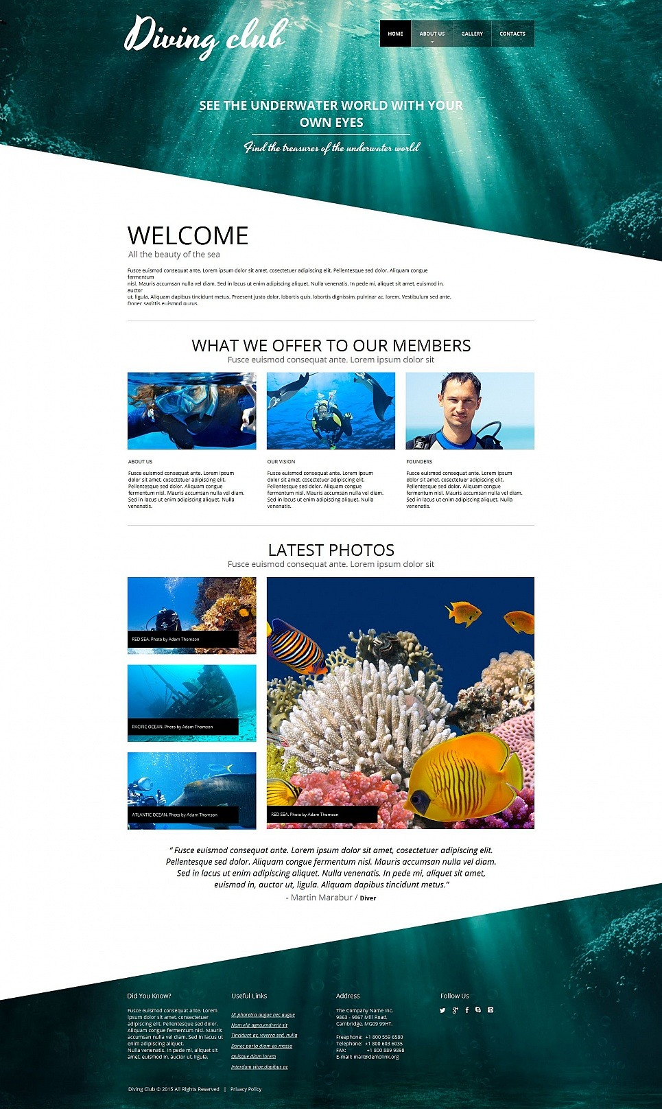 Diving Moto CMS HTML Template New Screenshots BIG