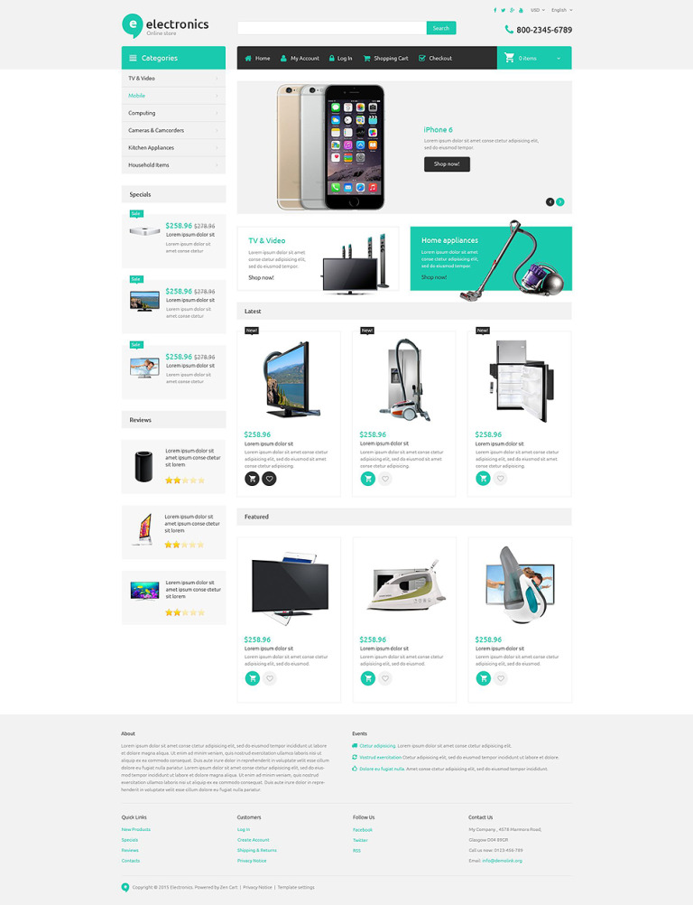 Electronics Store Responsive ZenCart Template New Screenshots BIG