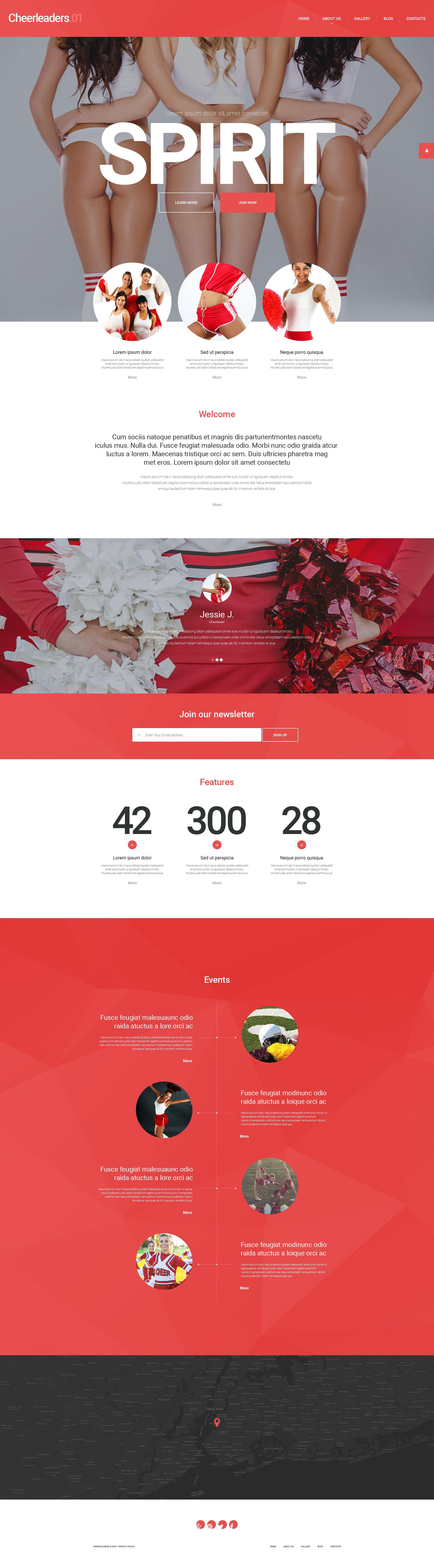 """Energetic Cheerleaders"" Responsive WordPress thema №54993 - screenshot"