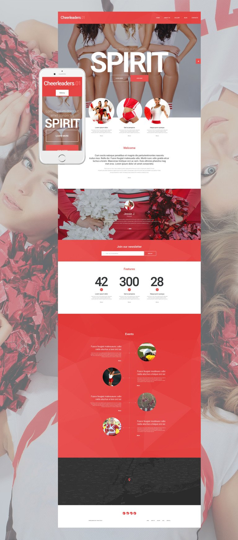 Energetic Cheerleaders WordPress Theme New Screenshots BIG