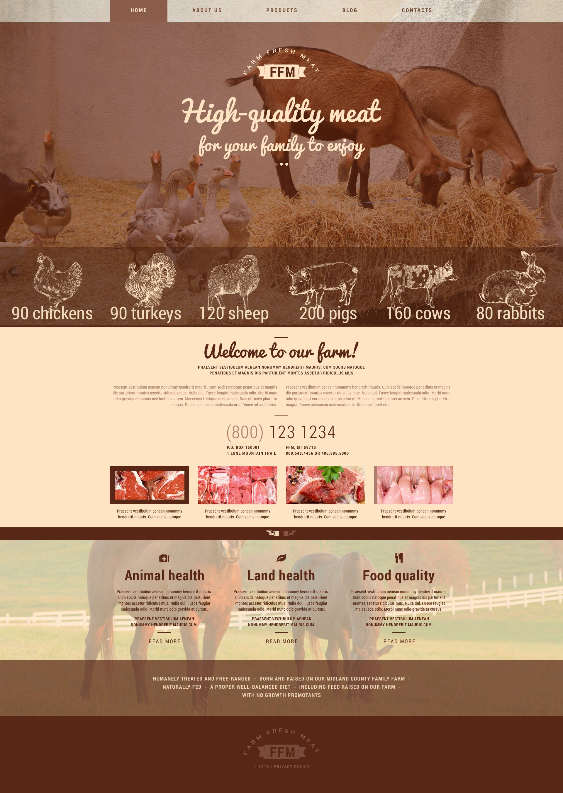 """Farm Fresh Meats"" 响应式WordPress模板 #54939 - 截图"