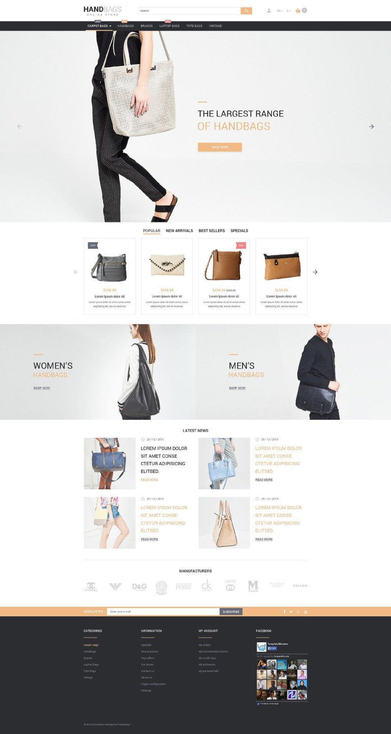 Handbag PrestaShop Theme New Screenshots BIG