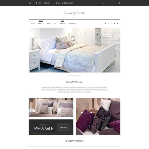 Luxury Linen  - Shopify Template based on Bootstrap