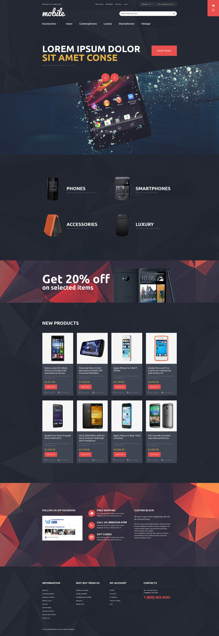 Mobile Phones and Accessories Magento Theme New Screenshots BIG