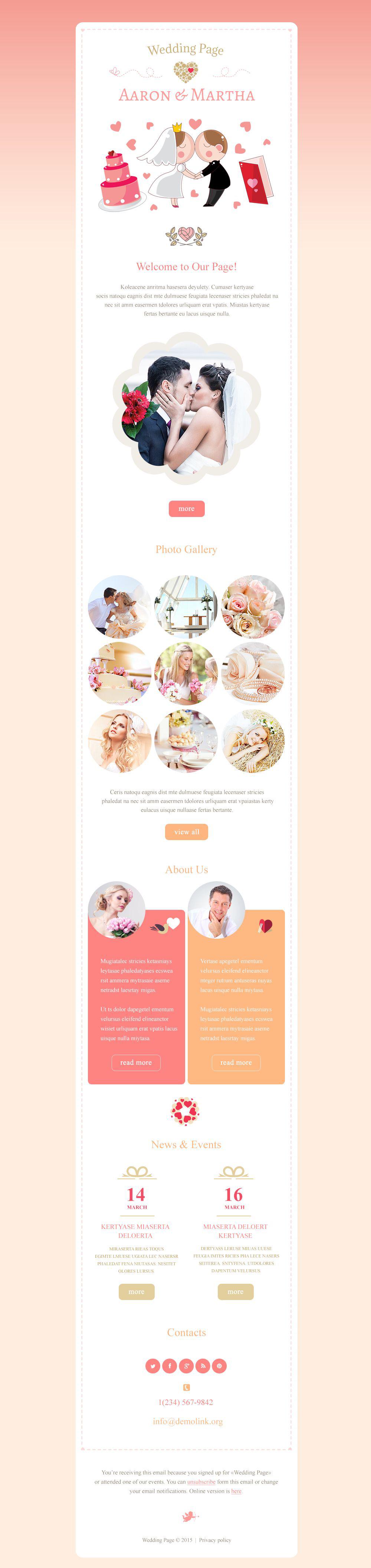 Modèle Bulletin adaptatif pour site d'organisation de mariages #54967
