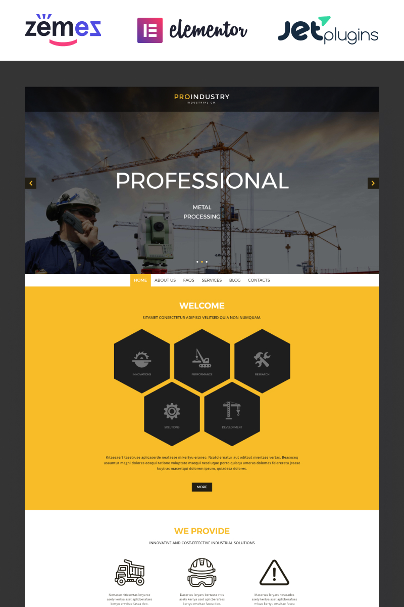 """ProIndustry"" - адаптивний WordPress шаблон №54938"