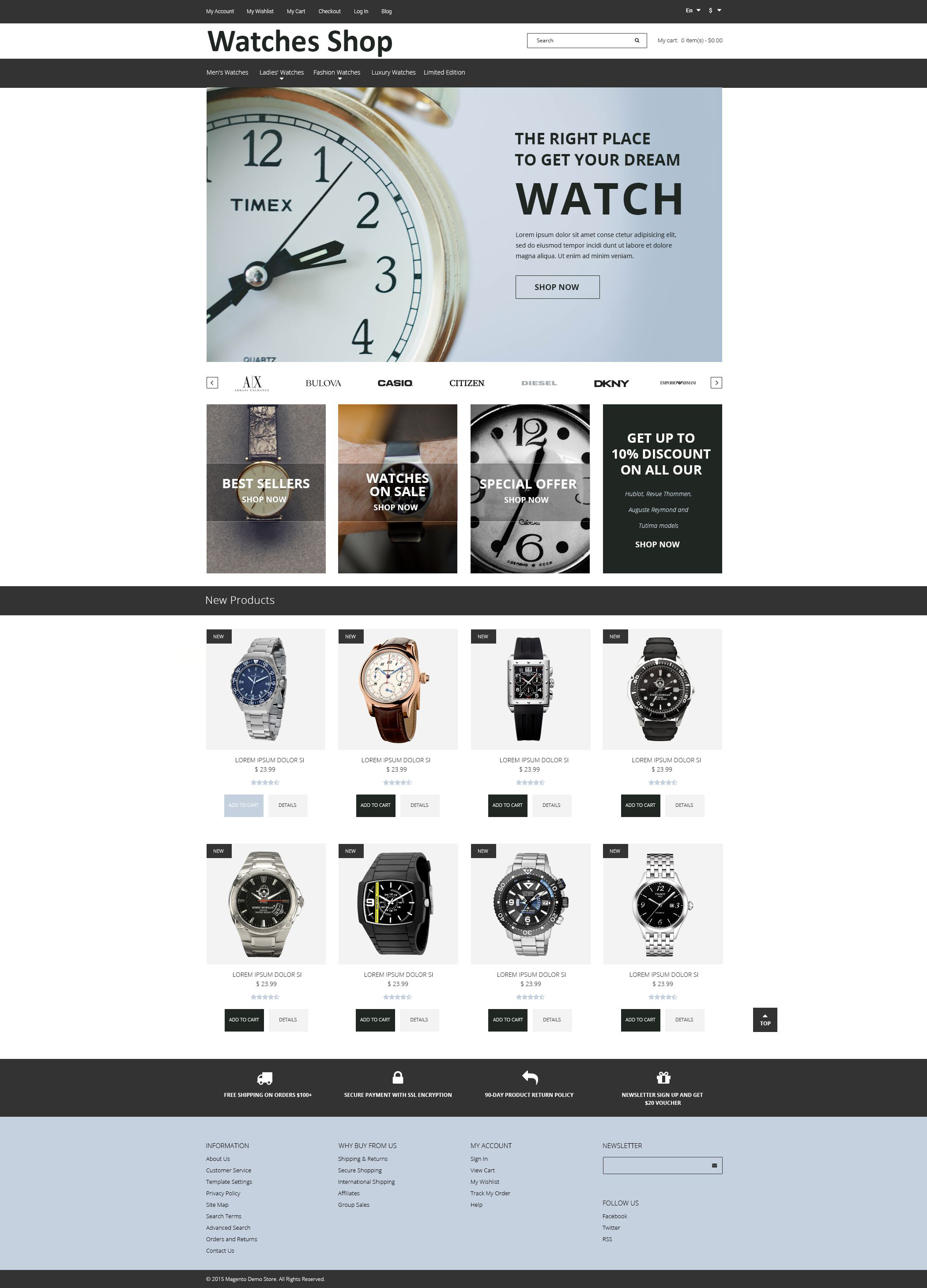 Responsive Watches Shop Magento #54985