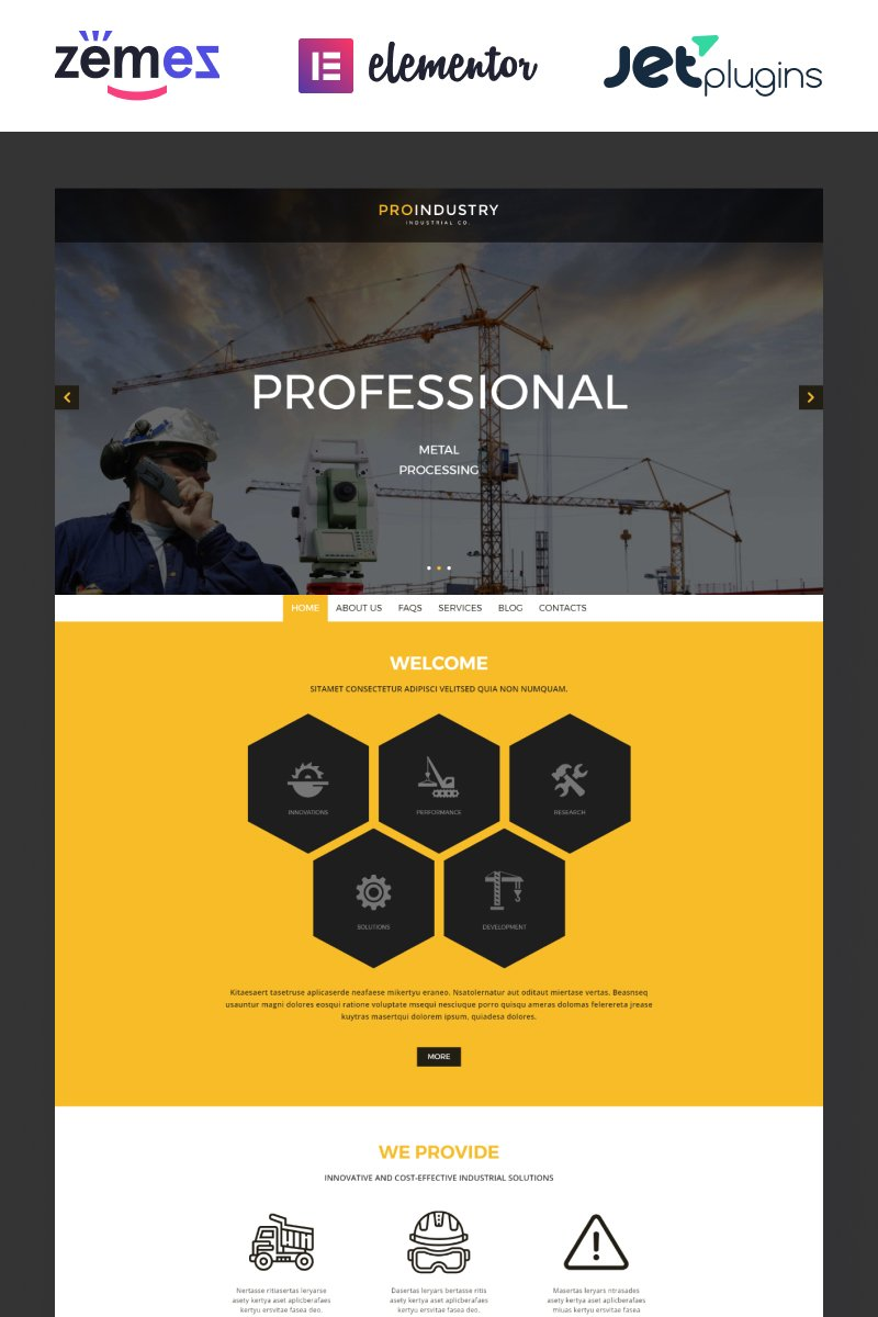 Responsivt ProIndustry WordPress-tema #54938