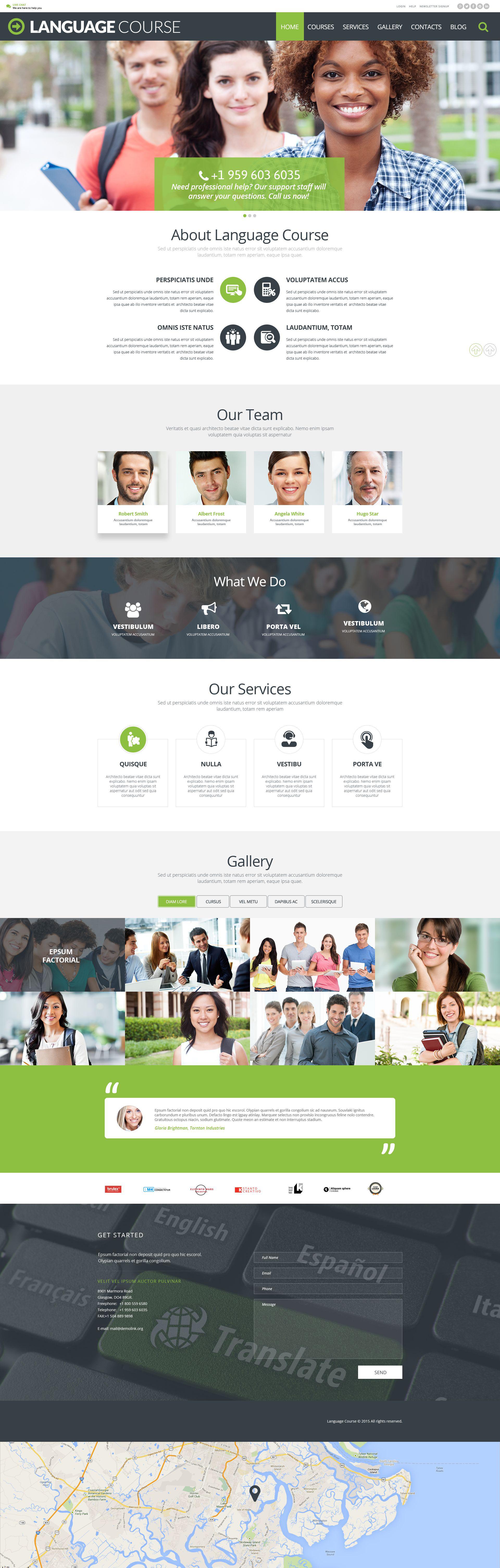 Responsywny motyw WordPress Language Course #54991 - zrzut ekranu