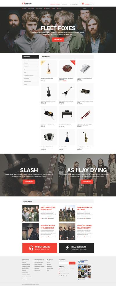 Tema Magento Flexível para Sites de Loja de Música №54931 #54931