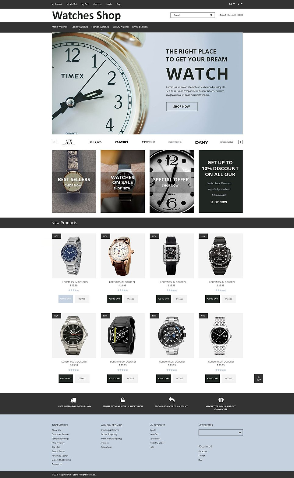 Watch Shop Magento Theme