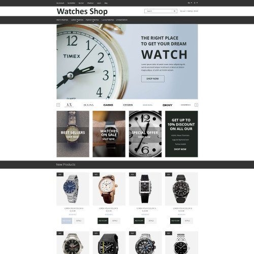 Watches Shop - Magento Template based on Bootstrap