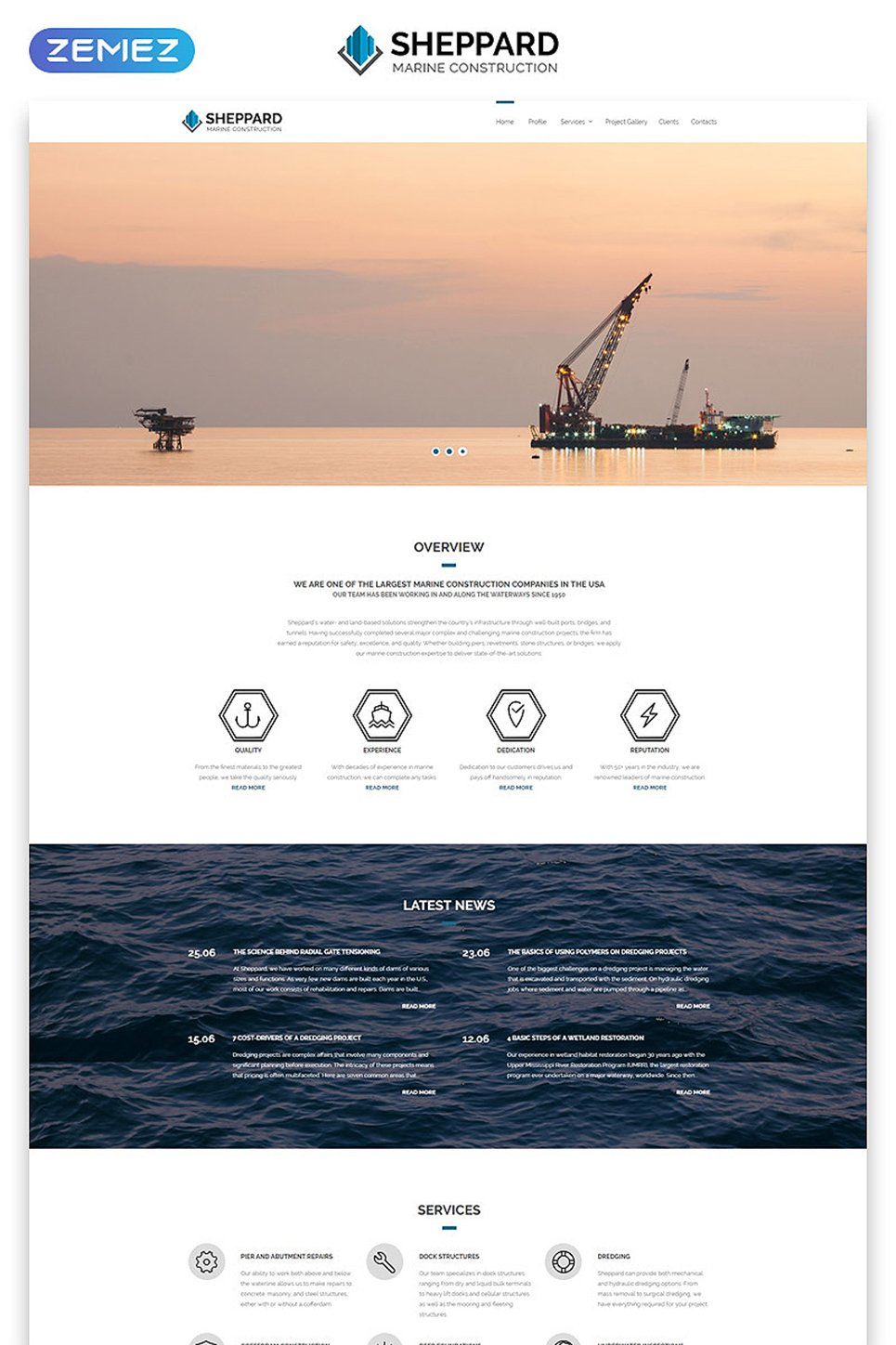 Marine Construction Company template illustration image