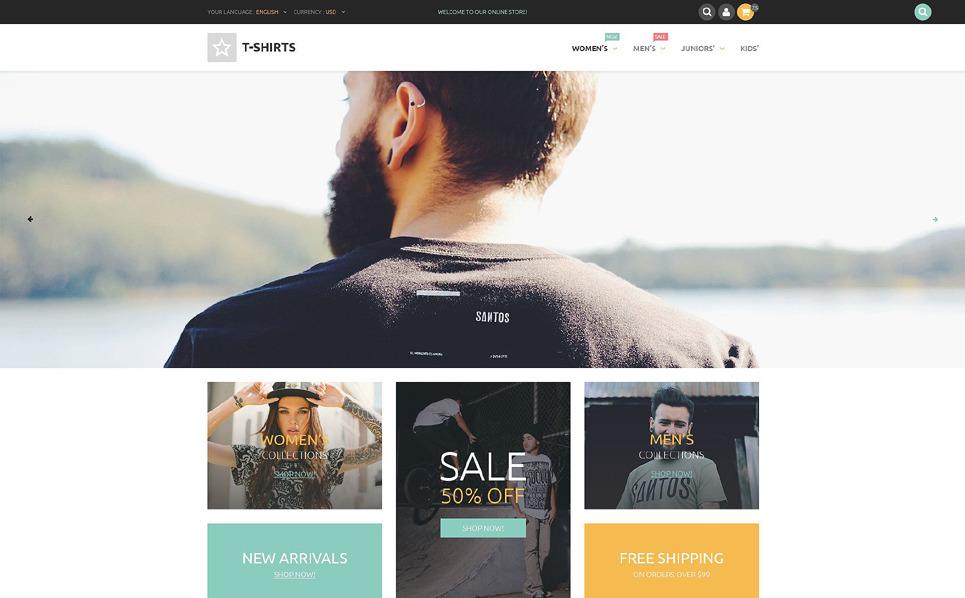 Адаптивний PrestaShop шаблон на тему магазин футболок New Screenshots BIG