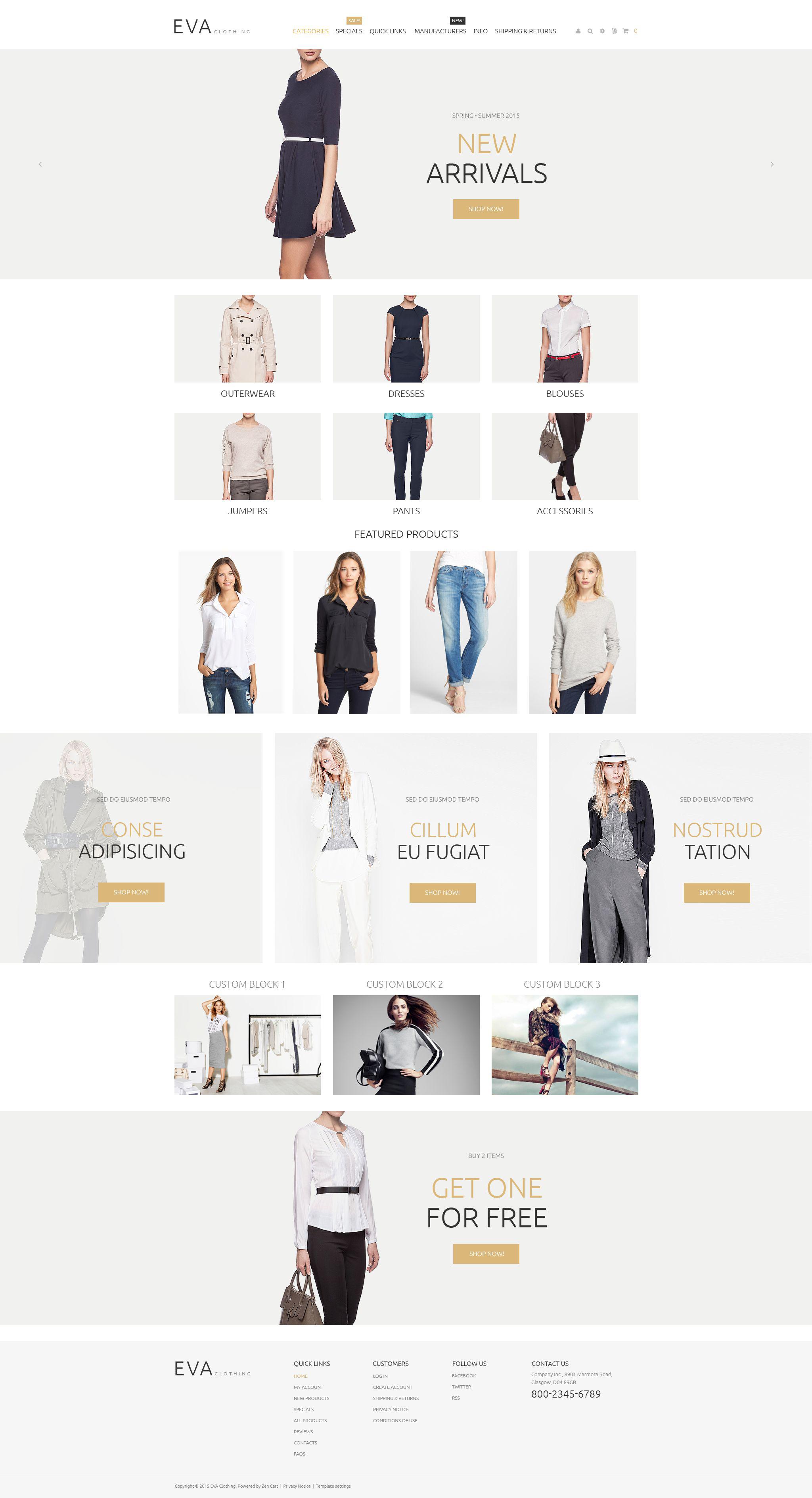 Адаптивний ZenCart шаблон на тему одяг №55063