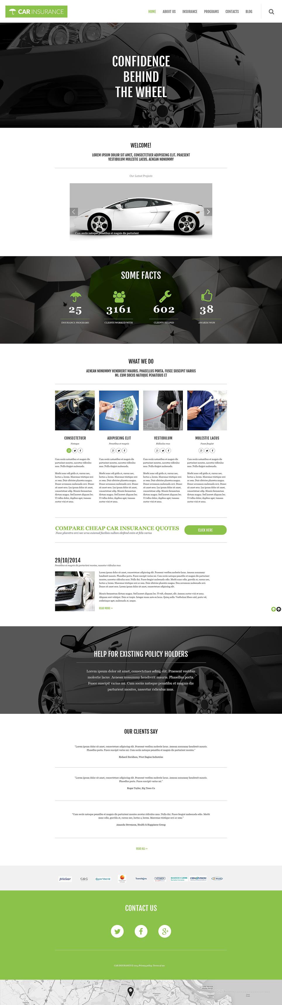 Адаптивный шаблон сайта на тему автострахование #55029