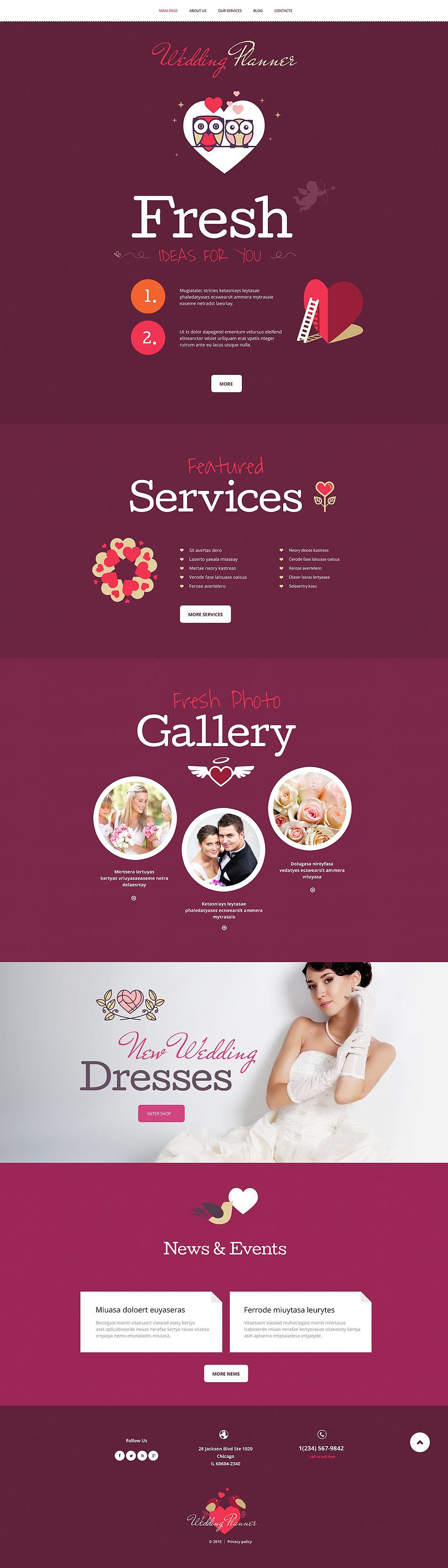 Адаптивный шаблон сайта на тему организация свадьбы #55043