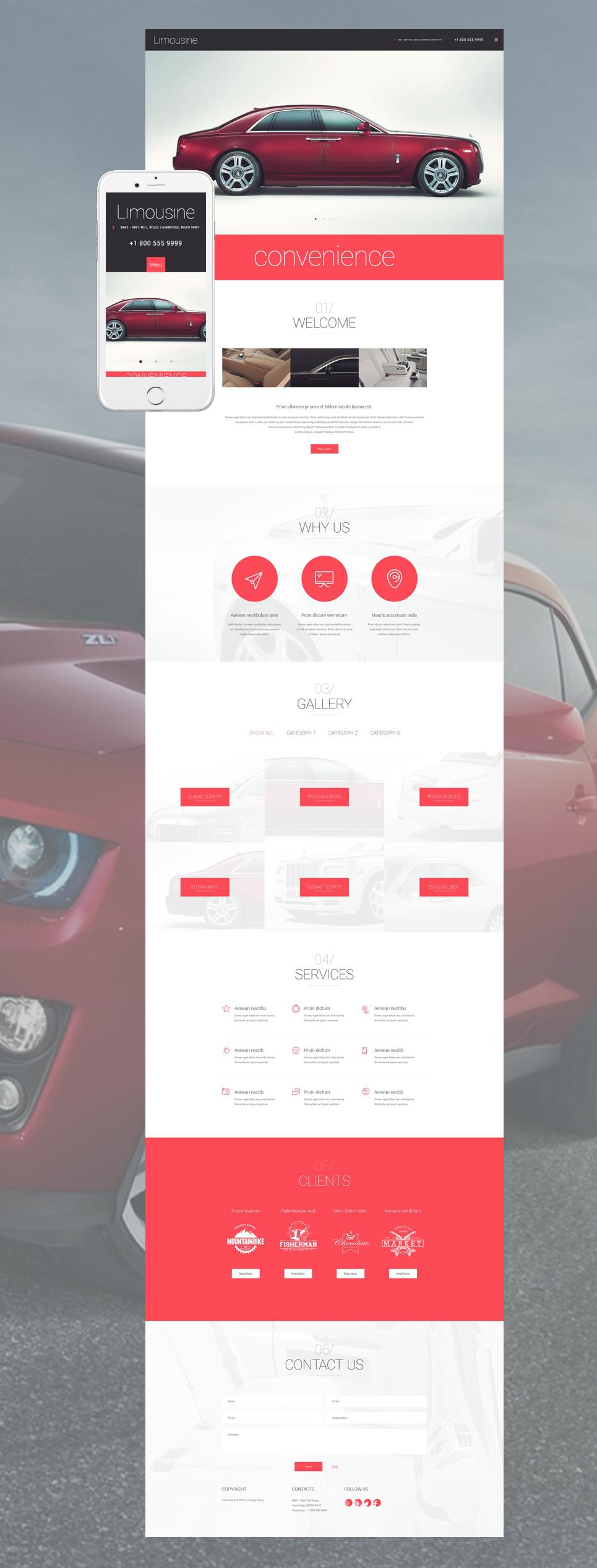 Адаптивный шаблон сайта на тему прокат лимузинов #55049