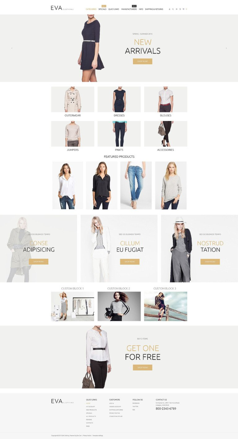 Apparel Responsive ZenCart Template New Screenshots BIG