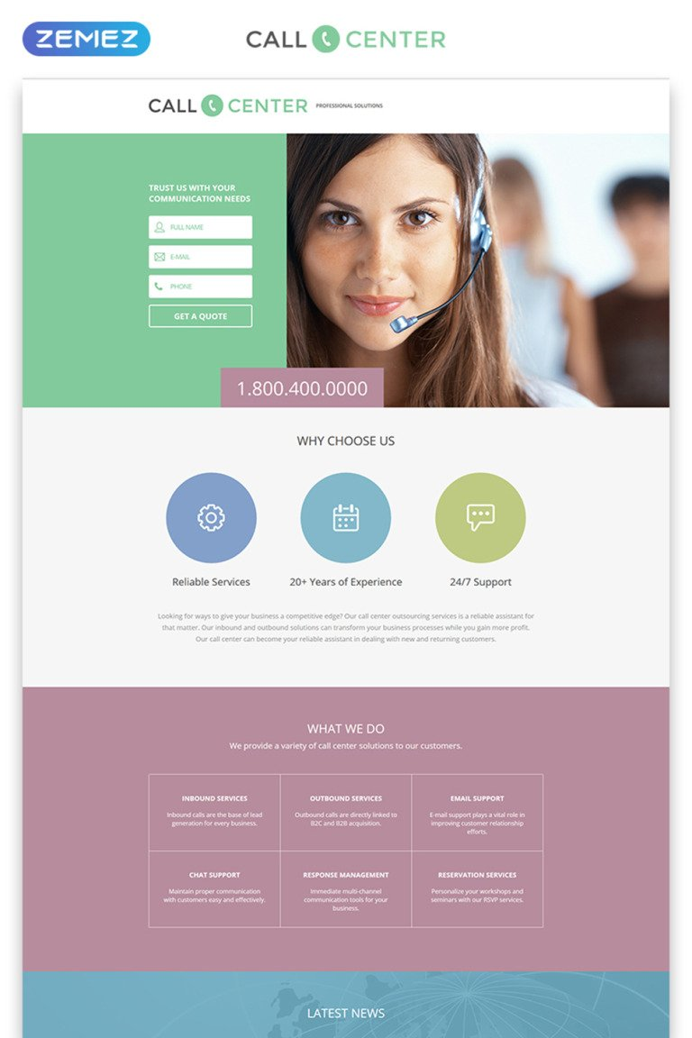 Call Center Responsive Landing Page Template New Screenshots BIG