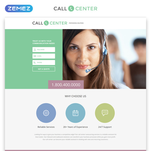 Call Center - Responsive Landing Page Template