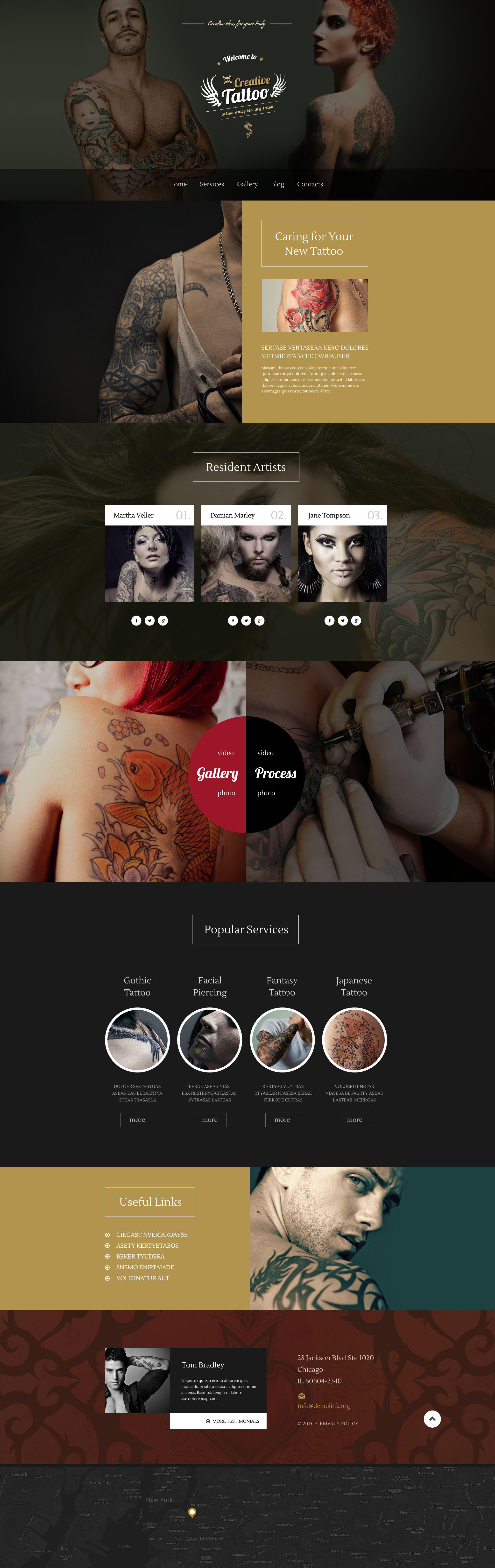 """Creative Tattoo"" 响应式WordPress模板 #55046 - 截图"
