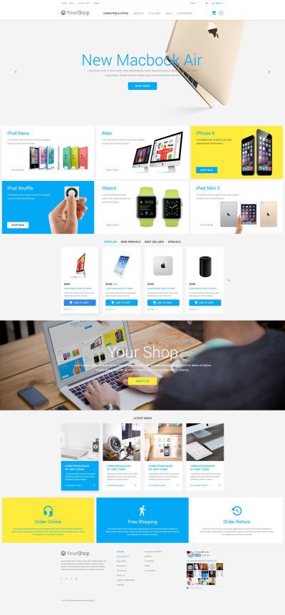 Flexível tema PrestaShop  №55036 para Sites de Loja de Eletrônicos