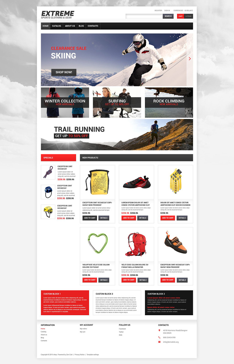 Extreme Sports Responsive VirtueMart Template New Screenshots BIG