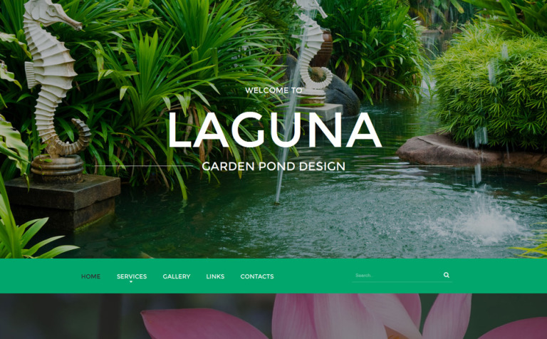 garden pond design website template new screenshots big - Garden Design Template