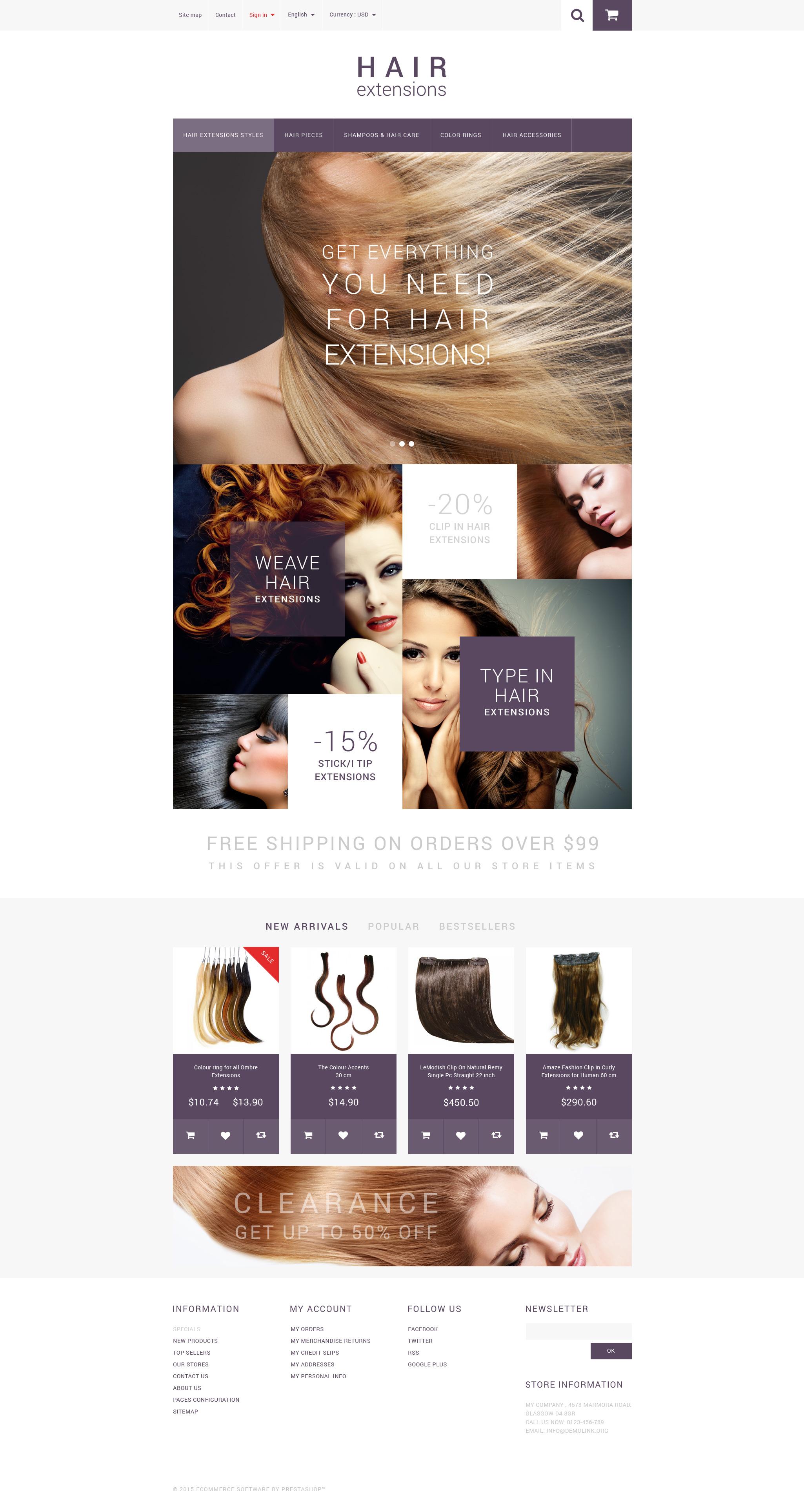 """Hair Extensions"" - адаптивний PrestaShop шаблон №55005 - скріншот"