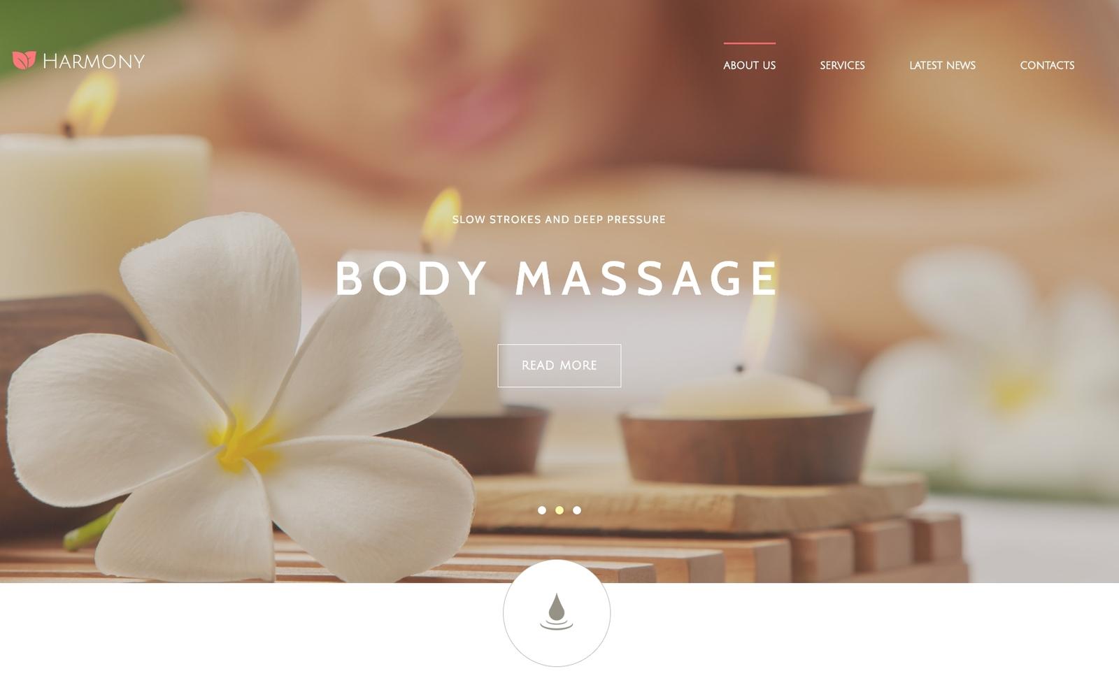 """Harmony - Massage Salon Responsive Elegant"" Responsive Joomla Template №55058"