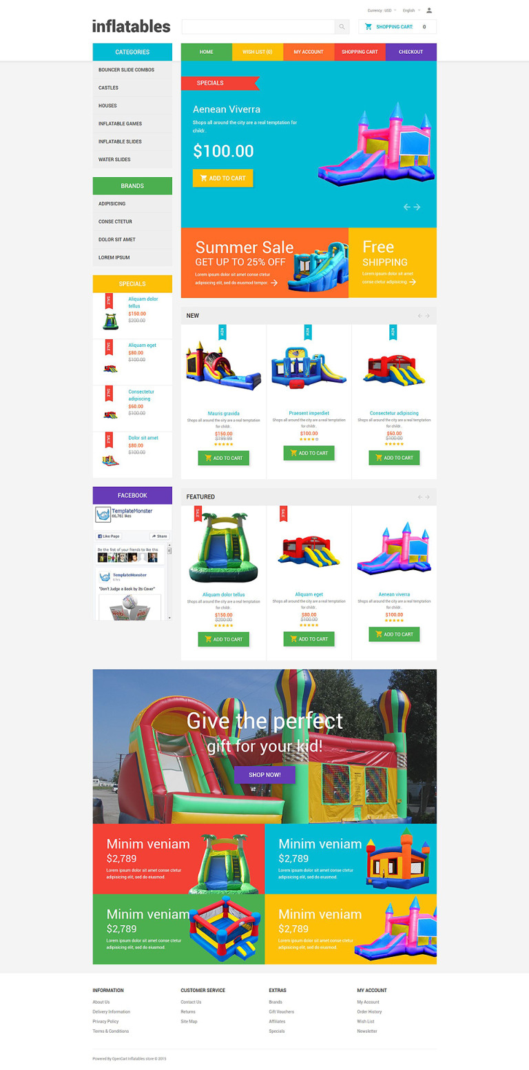 Inflatables OpenCart Template New Screenshots BIG