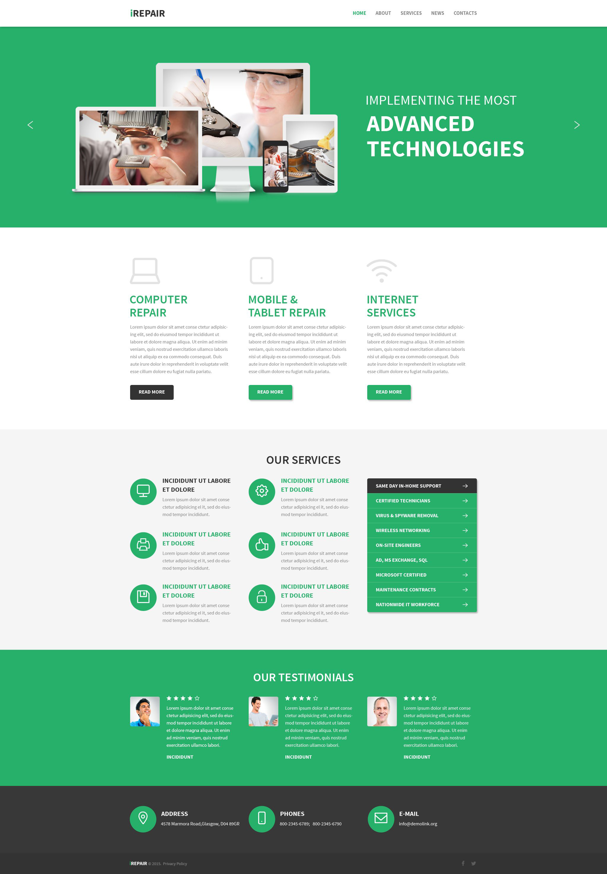Computer repair drupal theme for Drupal 7 view template