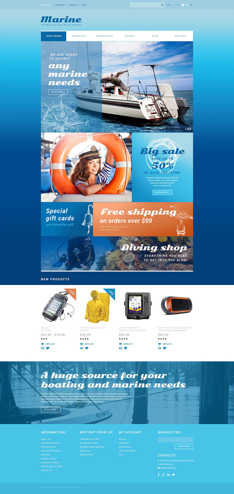 Marine Store Magento Theme New Screenshots BIG