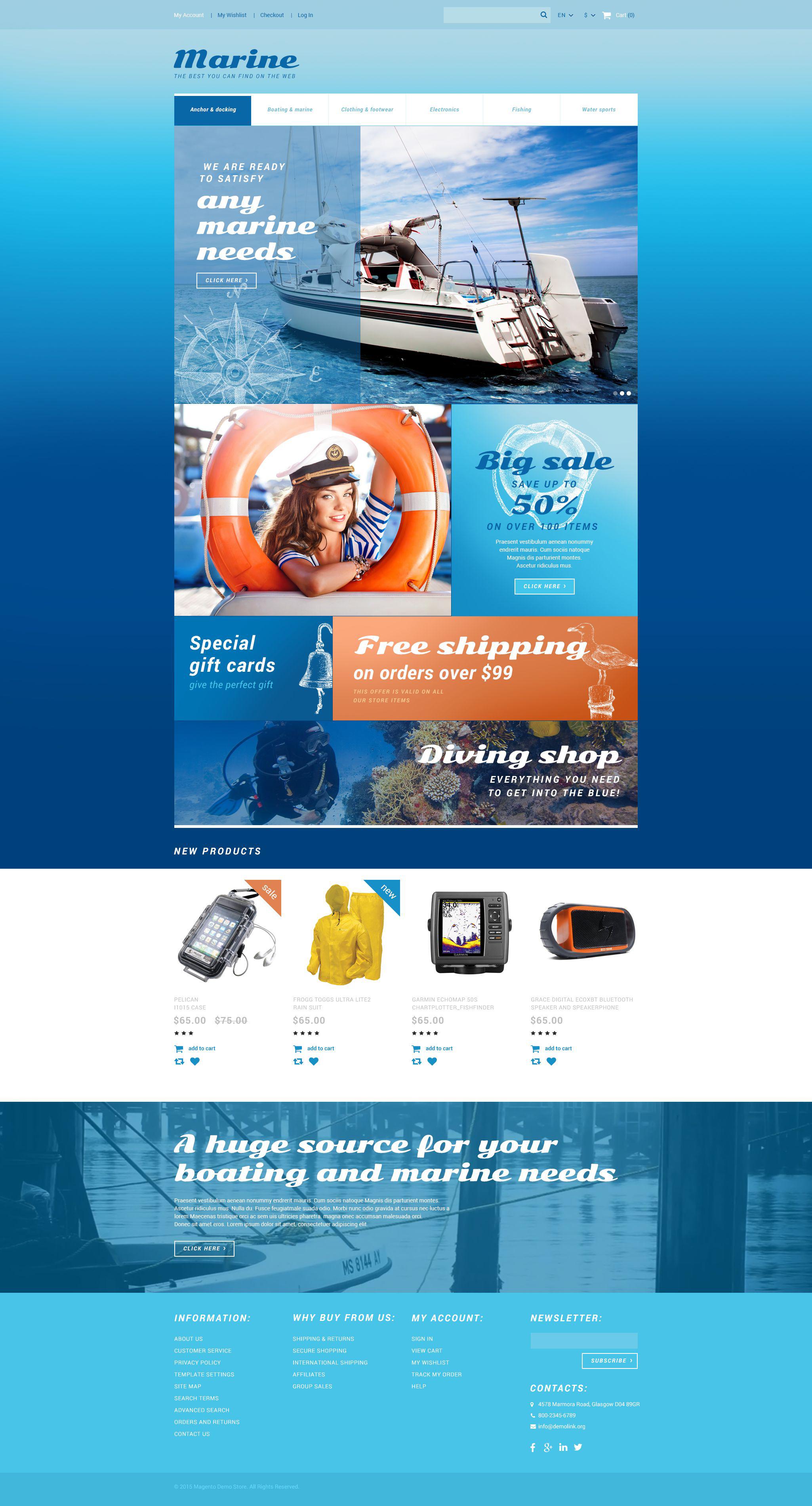 """""""Marine Store"""" Responsive Magento Thema №55038 - screenshot"""