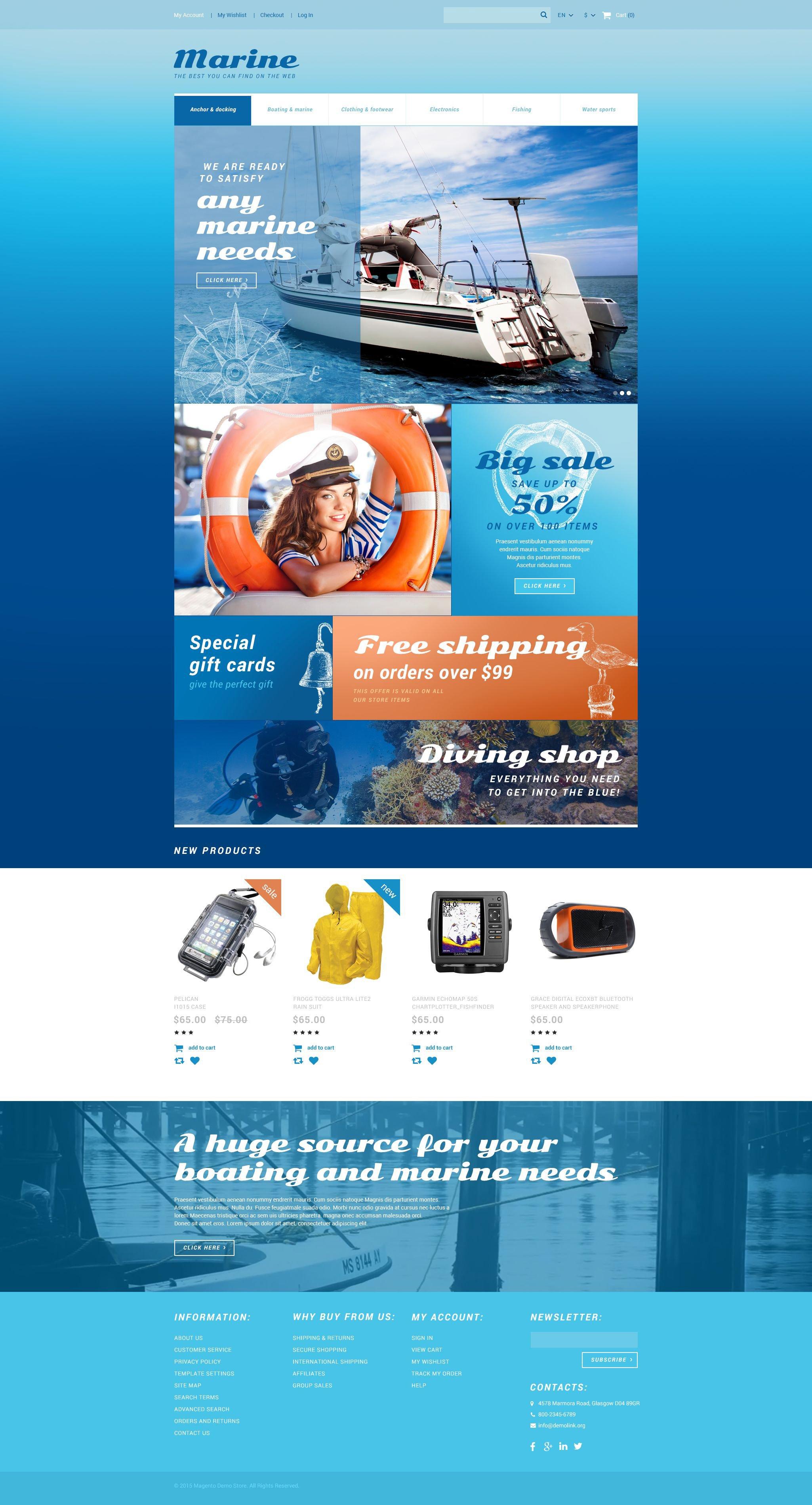 """Marine Store"" 响应式Magento模板 #55038 - 截图"