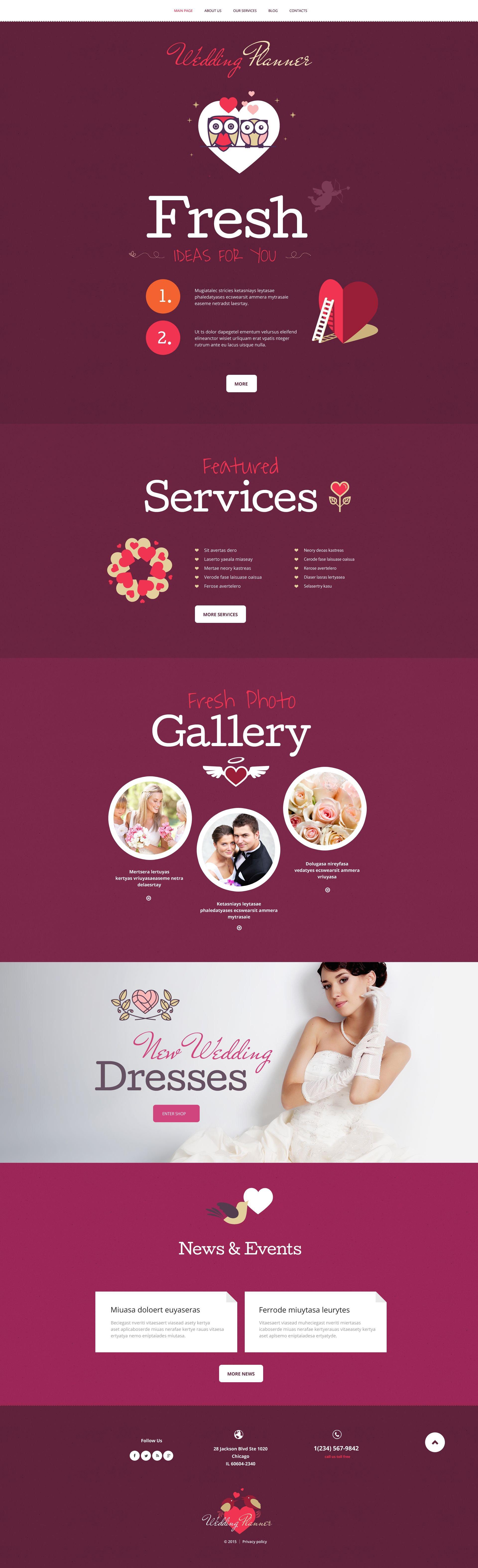 "Modello WordPress Responsive #55043 ""Wedding Planner"""