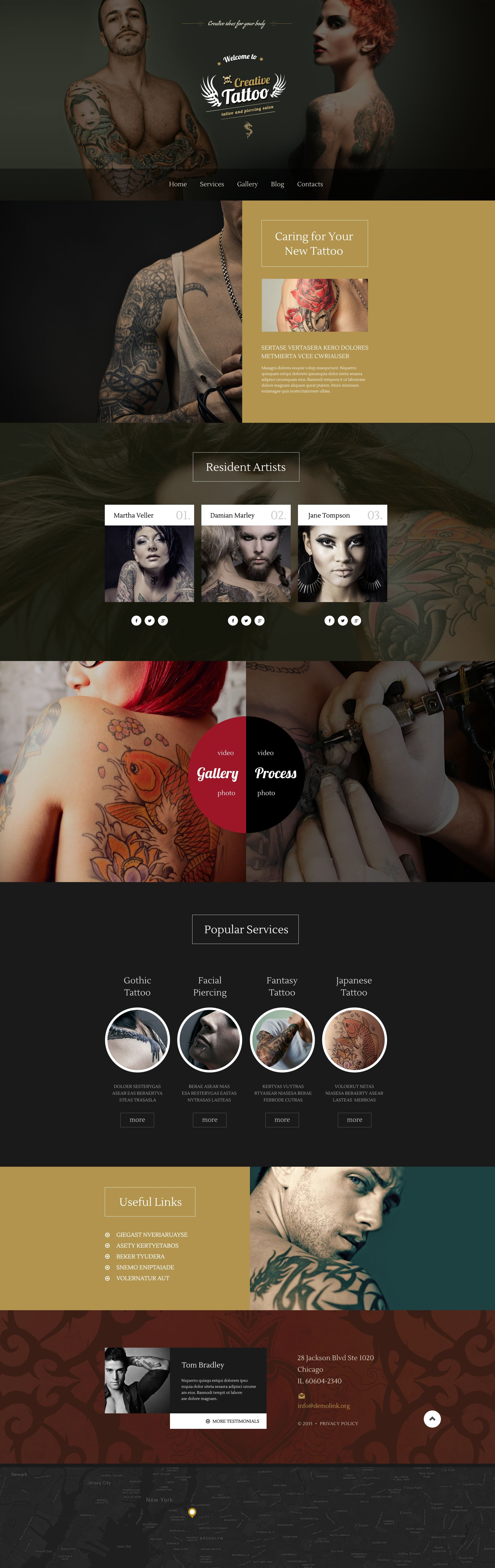 "Modello WordPress Responsive #55046 ""Salone di Tatuaggi"" - screenshot"