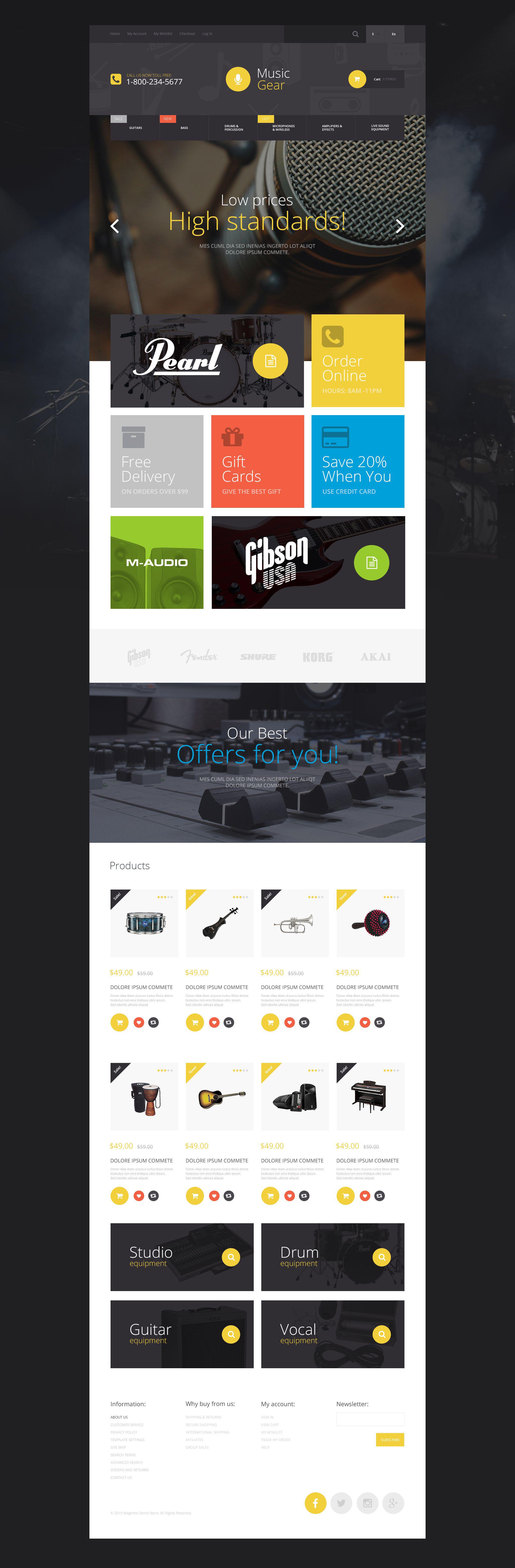 Music Gear Store Magento Theme